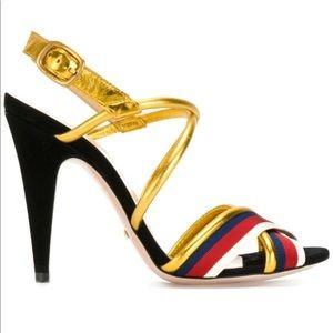 Gucci Sylvie Metallic Leather Suede Web Sandals